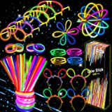 Kimimara Bracelets Fluorescents Lumineux Glow, 100 Bâtons Lumineux Fluorescents avec 122 Connecteurs pour Faire des Colliers