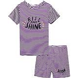 trudge Pijama de dos piezas para niña, corto, a rayas, para verano, algodón, camiseta y pantalones