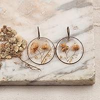 Orecchini pendenti con fiori di erigeron - gioielli artigianali - orecchini resina e fiori veri - orecchini fatti a mano