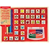 Melissa & Doug  Tampons pour enfants   Jeu de timbres en bois   Objets préférés