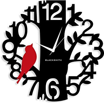 Blacksmith Aluminium Sparrow On Tree Wall Clock (Black and Red)