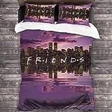 Parure de lit Friends Deko - Rachel Monica Joey - Housse de couette en microfibre pour adulte - Central Perk - Doux - Avec 2