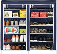 Happer Premium 12-Tiers Shoe Rack/Multipurpose Storage Rack with Dustproof Cover, (Blue)
