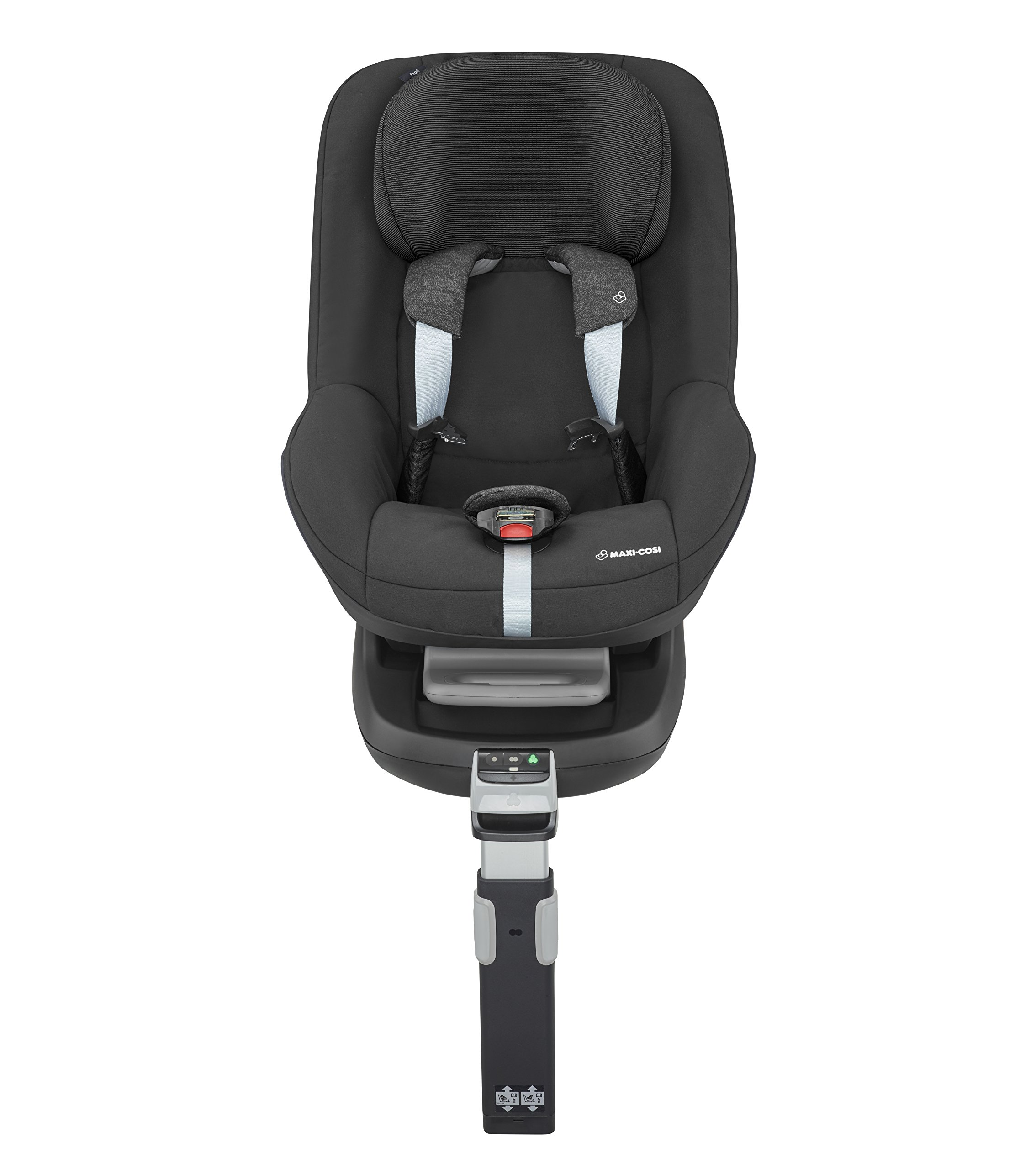 Maxi-Cosi Pearl Toddler Car Seat Group 1, ISOFIX Car Seat, Compact, , 9 Months - 4 Years, 9-18 kg, Nomad Black Maxi-Cosi Interactive visual and audible feedback when the pearl is correctly installed with the maxi-cosi family fix base in the car Spring-loaded, stay open harness to make buckling up your toddler easier as the harness stays out of the way Simultaneous harness & headrest adjustment can be operated with one-hand 6