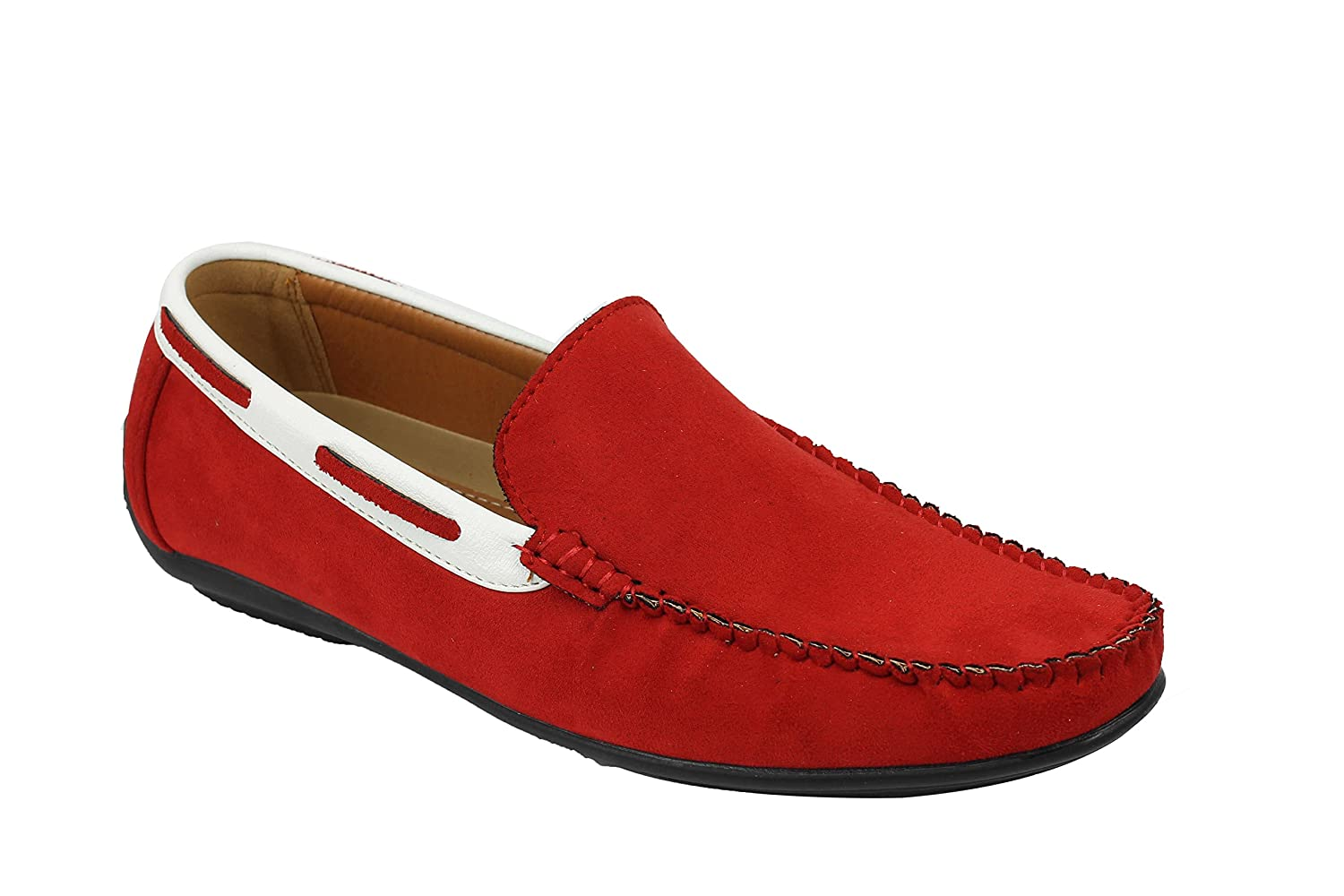 Mens Suede Faux Leather Slip On Loafers Moccasins Smart Casual Driving Shoes In Black Navy Red
