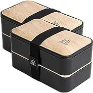 Umami® ⭐ Lunch Box | Bento Box con 2 Compartimientos Herméticos Y 3 Cubiertos Sólidos | Apto para Microondas Y Lavavajillas