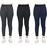 Huma Gym wear Leggings Ankle Length Free Size Combo Workout Trousers   Stretchable Striped Jeggings   Yoga Track Pants for Gi