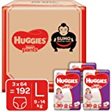 Huggies Wonder Pants, Sumo Monthly Box Pack Diapers, Large Size, 192 Count