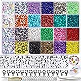 8200Stk Perlen zum Auffädeln 3mm Mini Glasperlen Kleine Rocailles Perlen zum Basteln für selber Ketten Ringe und Armbänder zu