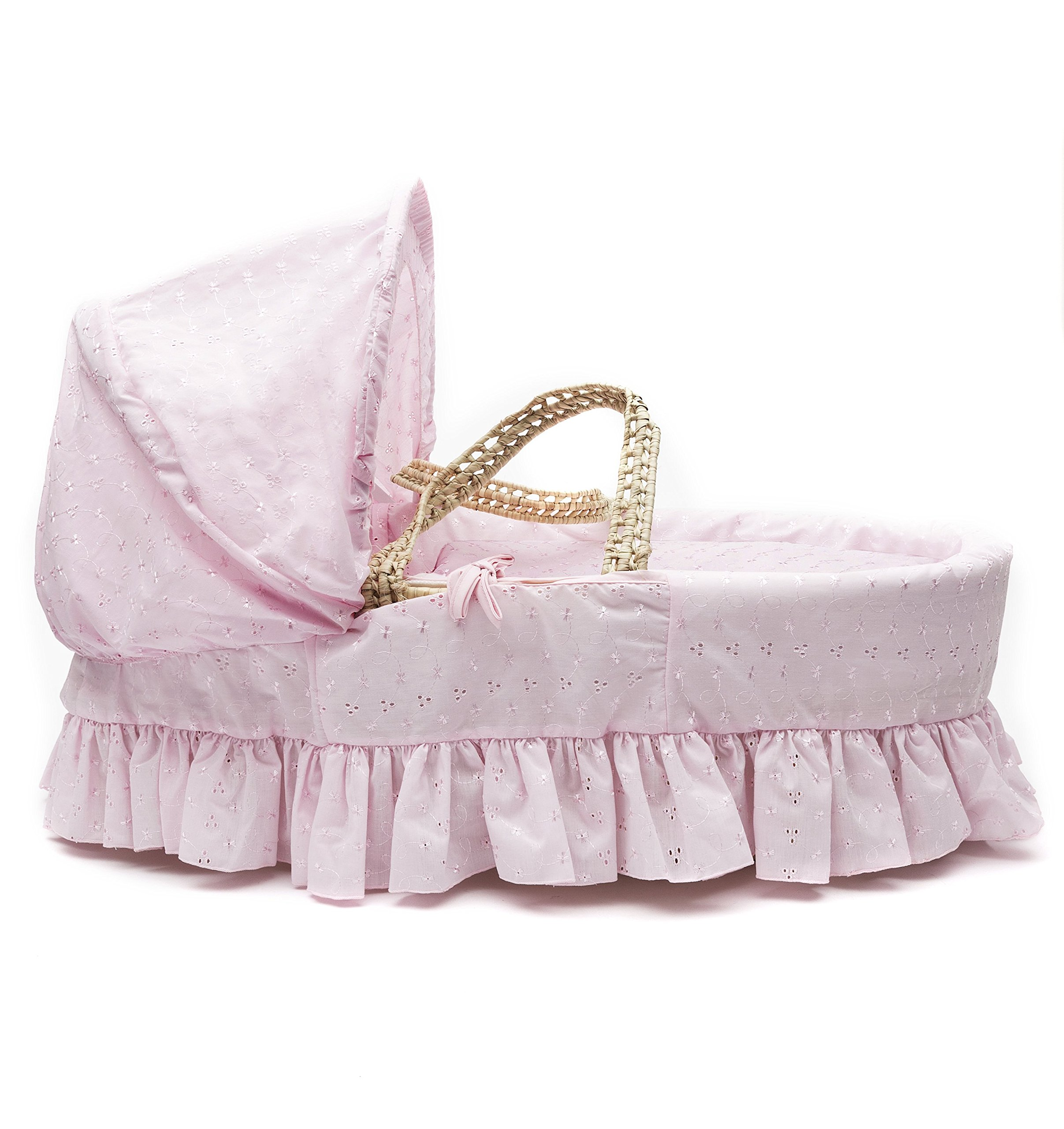 Pink Broderie Anglaise Palm Moses Basket & Deluxe White Rocking Stand Elegant Baby Suitable from newborn for up to 9kg, this Moses Basket uses Easy-care Poly Cotton with a soft padding surround Suitable from newborn to 9 months It also includes a comfortable mattress and an adjustable hood perfect to create a cosy sleeping space for your precious little one 3