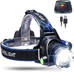 KINGTOP Unisex Adult stirn02 Stirnlampe Wasserdicht USB Wiederaufladbare LED Kopflampe, 3 Lichtmodi 600lm, Perfekt für Camping,Joggen, Spazieren und andere Outdoor Sport, 1