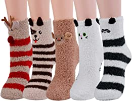 Zoylink Calcetines Esponjosos, Calcetines Elásticos Suaves de Patrón Lindo de Navidad Calcetines de Felpa Cálidos Calcetines Nvierno Navidad Algodón Calcetines(Mujer/Niña)