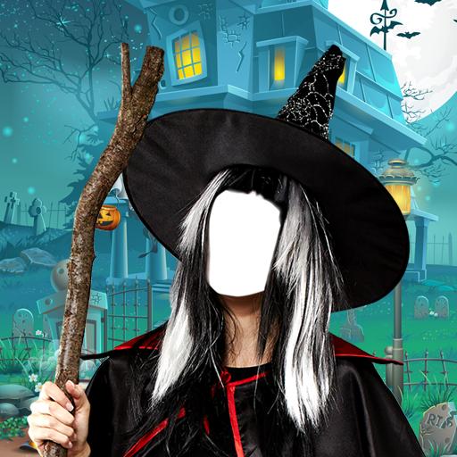 Halloween-Foto-Montage (Beängstigend Masken Hexe)