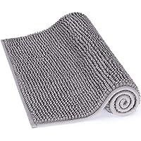 Lifewit Non-slip 80 × 50 cm Chenille Bath Mat, Easy to Clean Bathroom Mats, Soft Shower Rug, Grey