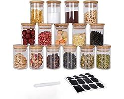 GoMaihe Voorraadpotten set van 15, Voorraaddozen Kruidenpotjes Luchtdichte Glazen Container Gemaakt van Glazen Pot met Deksel