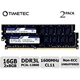 Timetec Hynix IC DDR3 PC3-12800 1600 MHz Non ECC Unbuffered 1.35V/1.5V Dual Rank 240 Pin UDIMM Desktop PC Computer…