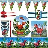 Set di Forniture per Feste di Dinosauri - ZSWQ Posate Riutilizzabile Dinosauro, per Festa di Compleanno Dinosauri Supplies pe