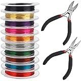 Kurtzy Kleurrijk Aluminium Sieraden Maak Hobby Draad en Tangen (12 Pak) – 0,3 mm Guage – 10 m Rollen – 10 Kleuren – Flexibel