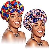 2 Pièces Bonnet en Satin Bonnet de Nuit Bonnet de Sommeil Réglable en Satin de Double Couche Bandeau Imprimé Africain Foulard
