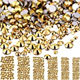 Bememo 3456 Pieces Nail Crystals AB Nail Art Rhinestones Round Beads Flatback Glass Charms Gems Stones, 6 Sizes for…