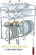 INNOVATION BY SAM Stainless Steel Wall Mount Dish Plates Rack Stands for Kitchen Utensils (White Steel, 24-inch)