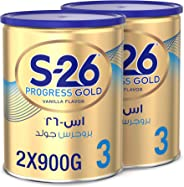 Nestle Wyeth Nutrition S26 Progress Gold Stage 3, 1-3 Years Premium Milk Powder for Toddlers 900g with Nutrilearn System - (