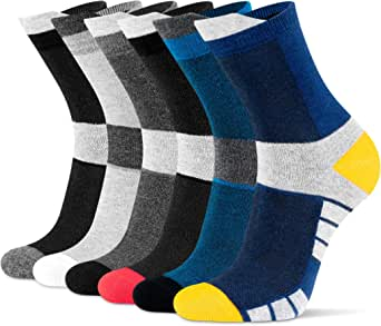 Newdora Men's Socks 6 Pairs, Breathable Comfortable Casual Crew Socks for Outdoor Recreation Trekking Climbing Camping Hiking, Cotton Socks for Men and Women