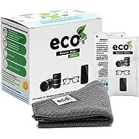 Ecomoist Lot de 100 lingettes nettoyantes pré-humidifiées emballées avec une fine serviette en microfibre pour lunettes…
