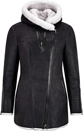 Smart Range Leather Giacca da Donna in Pelle di Montone B3 Cappotto Invernale con Cappuccio in Vera Pelliccia di Montone Bianco BK-22