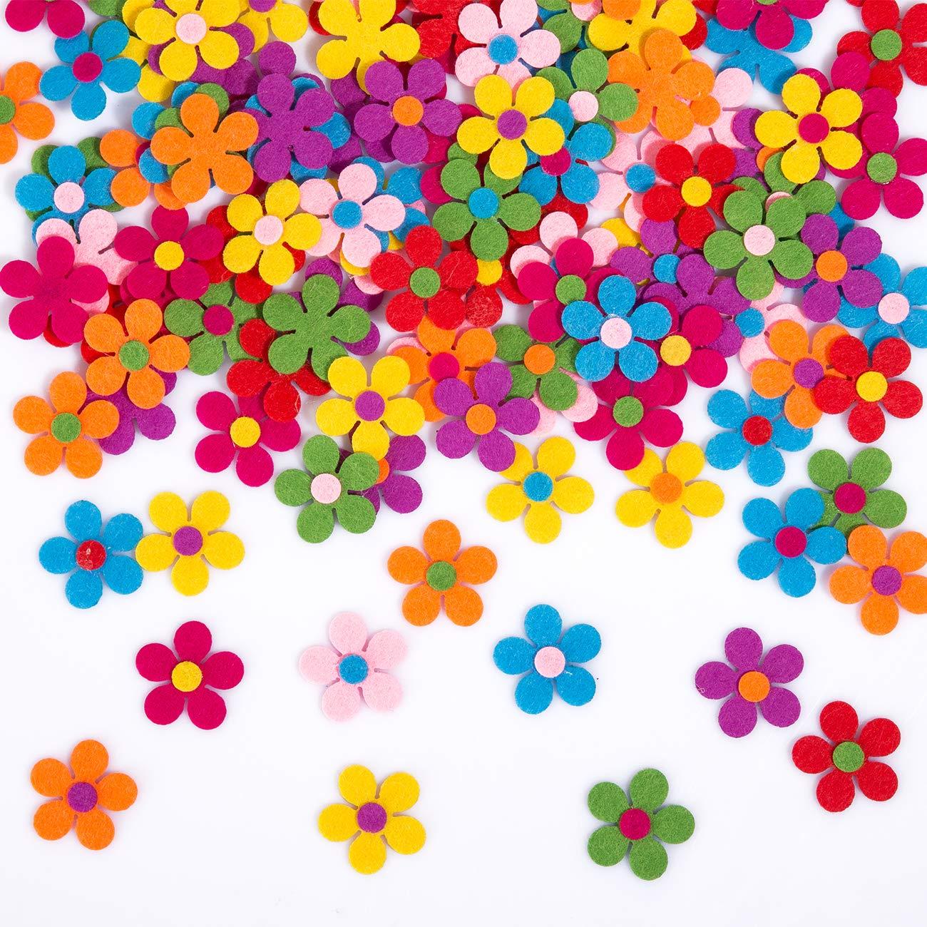 Naler 120 Flores de Fieltro de Colores Adornos de Fieltro Margaritas Cabezas de Flores Artificiales para DIY Manualidad…