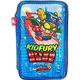 Cife SUPERZINGS Estuche Triple ZUPERZINGS Kid Fury Colores, 16 rotuladores, Bolis, Regla, Calendario, lápiz, Goma, Multicolor