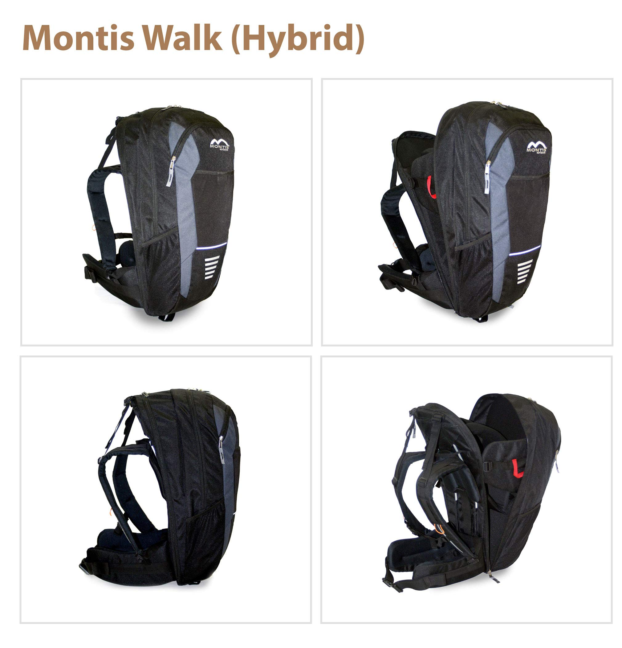 MONTIS WALK, back carrier, child carrier, backpack up to 15kg M MONTIS OUTDOOR 61cm high, 28cm wide; 20 litres; approx. 1850 grams Combination backpack and child carrier, up to 15 kg 3-point safety belt for children 5