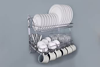 Lifetime Wire Products Kitchen Rack With Removable Strong Plastic Drip Tray,Utensil Holder Rack
