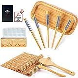Bochee Kit Sushi 14 Pcs, Kit de Préparation de Sushi avec un Coffret Cadeau – des Tutoriels Vidéo et Ebook, 2 Natte Bambou po
