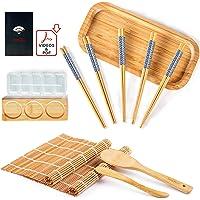 Bochee Kit Sushi 14 Pcs, Kit de Préparation de Sushi avec un Coffret Cadeau – des Tutoriels Vidéo et Ebook, 2 Natte…