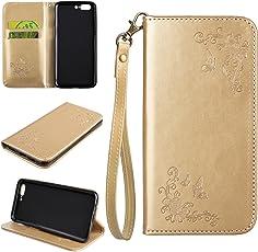OnePlus 5 Hülle Leder, Lomogo Schutzhülle Brieftasche mit Kartenfach Klappbar Magnetverschluss Stoßfest Kratzfest Handyhülle Case für OnePlus5 - HOHA24263 Gold