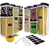Boite de Rangement Cuisine Plastique Hermetique, Pour Stocker Les Cereales, Sucre, Farine, Nourriture pour Animaux avec Étiqu