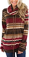 Happy Sailed Womens Cowl Neck Striped Drawstring Long Sleeve Tops with Pockets