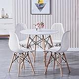 GrandCA HOME Ensemble de Meubles de Salle à Manger - Style scandinave Moderne 4 chaises + 1 Table Ronde en MDF dans la Salle