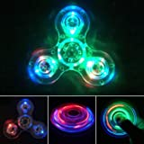 IREENUO Crystal Led Light Fidget Spinner Toy Hand Tri Spinner Single Finger Fast Bearings Anxiety Relief EDC Toys for Childre