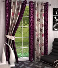 Galaxy Home Decor Abstract TEH Eyelet Polyester Pack of 2, Curtains for Door 7 Feet, Purple