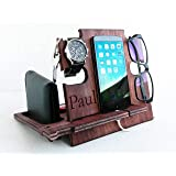 Personalized Gift for Him, Engraved Docking Station, Christmas Gift for Men - Smartphone Stand, Wooden Desk Organizer, Chargi