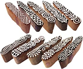 Textile Wooden Blocks Innovative Border Design Printing Stamps (Set of 10)