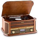 Auna Belle Epoque 1908 - Giradischi, Stereo, Radio Digitale, Dab+, Design retrò, Lettore di Vinili, FM, Bluetooth, Lettore CD