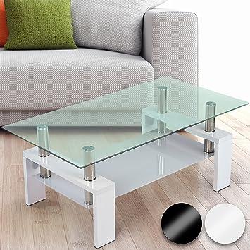 Miadomodo Tavolino da salotto moderno con due lastre di vetro ...