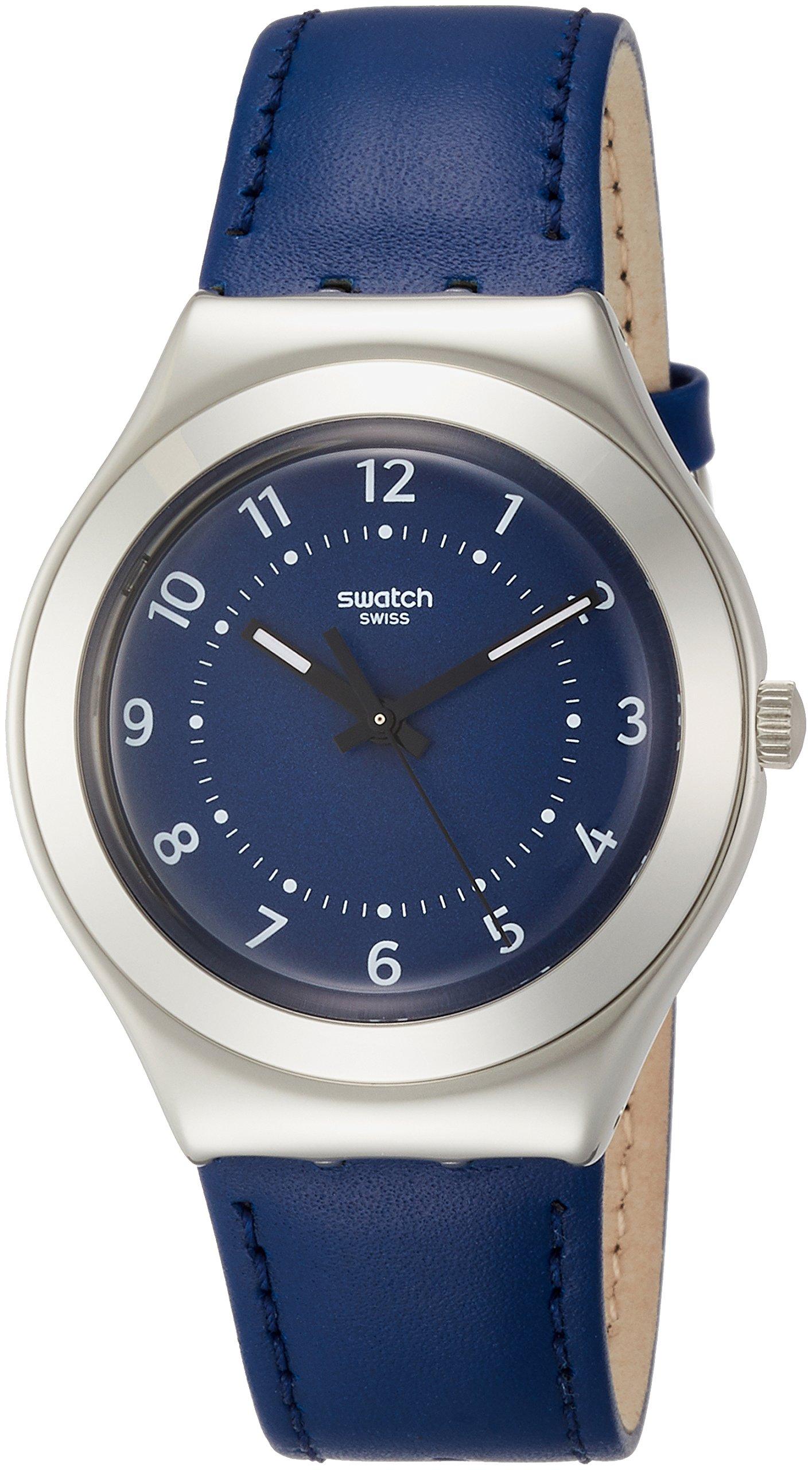 Swatch Herren Analog Quarz Uhr mit Leder Armband YGS136