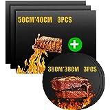 Nifogo Tapis de Barbecue, Feuilles de BBQ Anti-Adhérent, Feuille de Cuisson Teflon, Set de 6 Rectangle Et Cercletapis Cuisson
