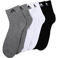 Adidas Men's Cotton Polyster Nylon Elastane Combo Of 3 Ankle Socks Pair (Black/White/Grey_Medium)