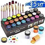Set Pintura Textil, RATEL Pack de Pintura Textil 24 x 15 ml Pintura para Tela y Ropa permanentes y lavables, ideal para ropa,