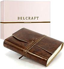 Vinci mittelgroßes Notizbuch aus Leder, Handgearbeitet in klassischem Italienischem Stil, Geschenkschachtel inklusive, Tagebuch, Lederbuch (12x17 cm) Braun